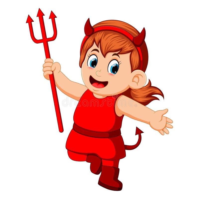 Kleine jonge geitjes in rood de duivelskostuum van Halloween vector illustratie