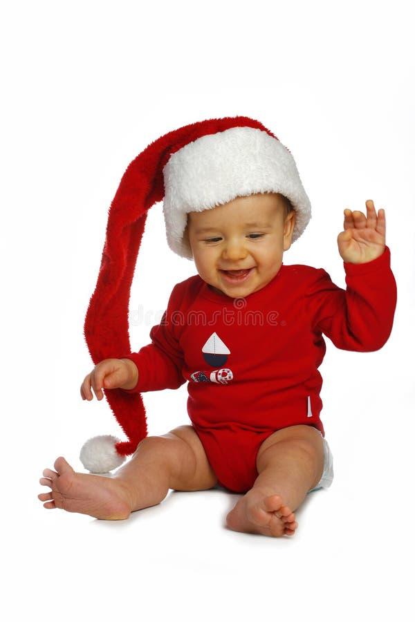Kleine jongen in de Kerstman GLB stock fotografie