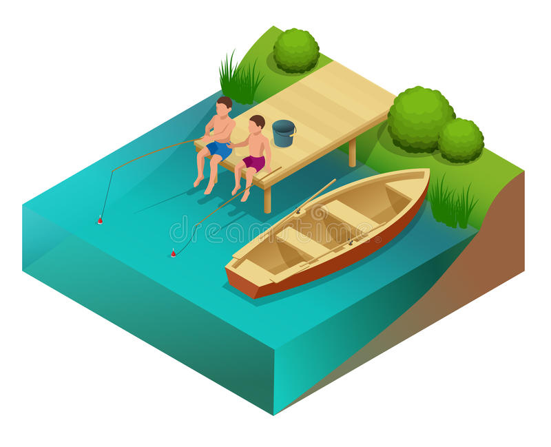 Kleine jongens die in een rivier vissen Het zitten op een houten ponton Vlakke 3d Vector isometrische illustratie stock illustratie