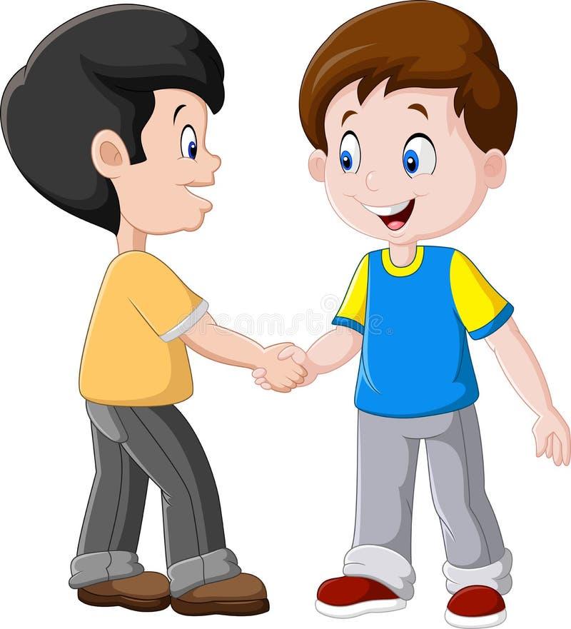 Kleine Jungen, die Hände rütteln lizenzfreie abbildung