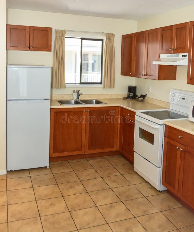 Kleine Küche mit hölzernen Kabinetten, Kühlschrank und elektrischem Ofen stockfoto