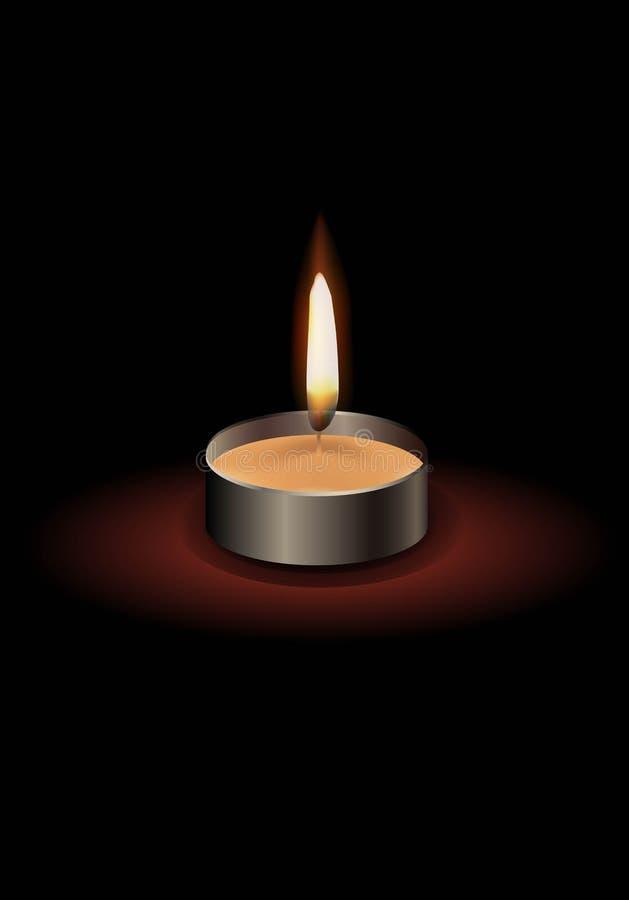 Kleine kaars met een vlam met een donkere achtergrond royalty-vrije illustratie