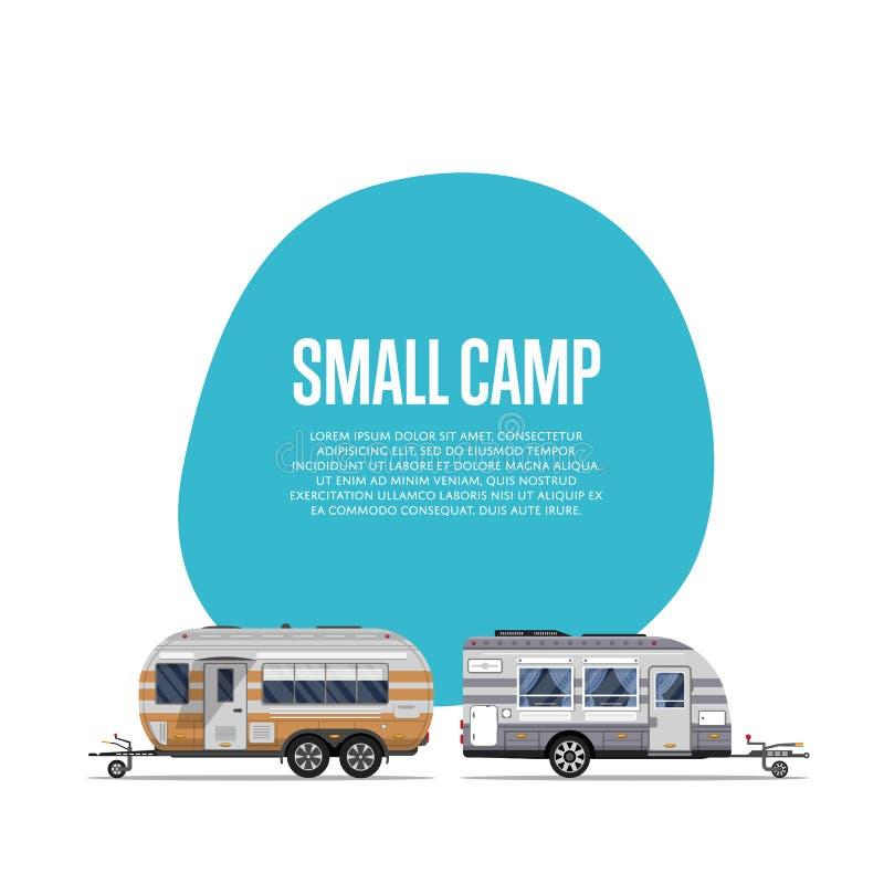 Kleine kampaffiche met reisaanhangwagens vector illustratie