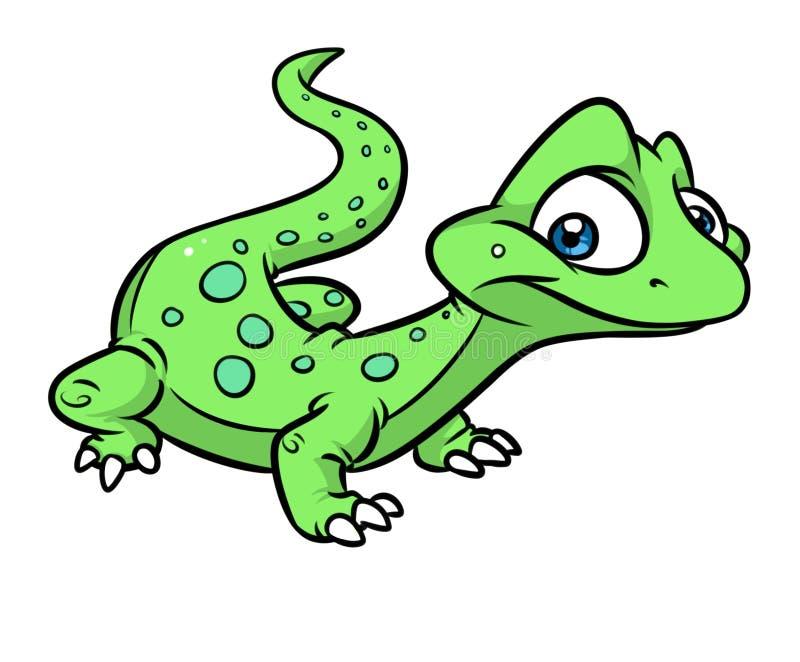 Kleine Karikaturillustration der grünen Eidechse stock abbildung