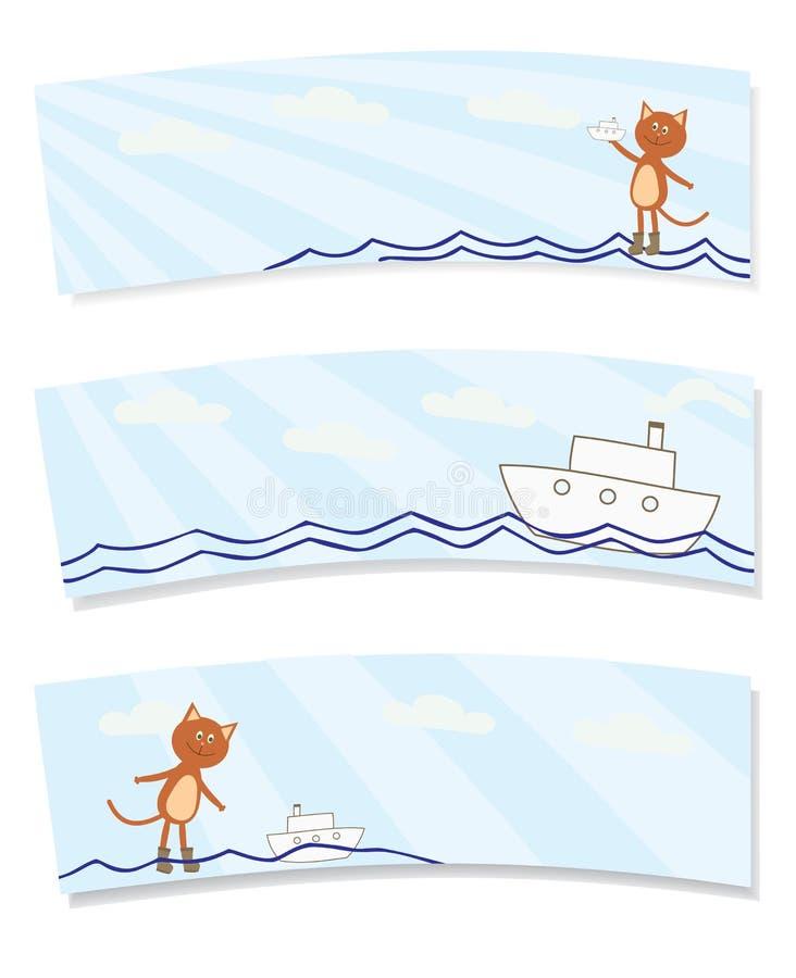 Kleine Katze mit einem Schiffsaufkleber stock abbildung