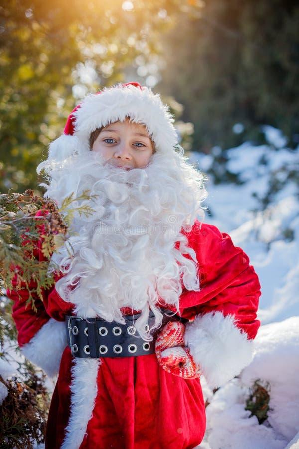 Kleine Kerstman die in een de winterbos lopen royalty-vrije stock afbeeldingen