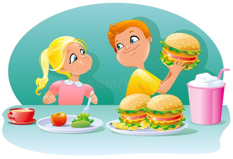 Kleine Kinder der Junge und Mädchen, die gesunde ungesunde Fertigkost essen, essen zu Mittag stock abbildung