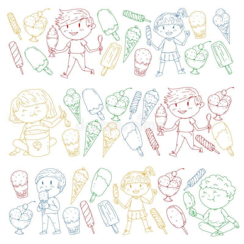 Kleine Kinder, die Eiscreme essen Süße Erdbeersüßigkeit für Kinder Geschmackvolle Vanille, Orange, Kiwinachtisch lizenzfreie abbildung