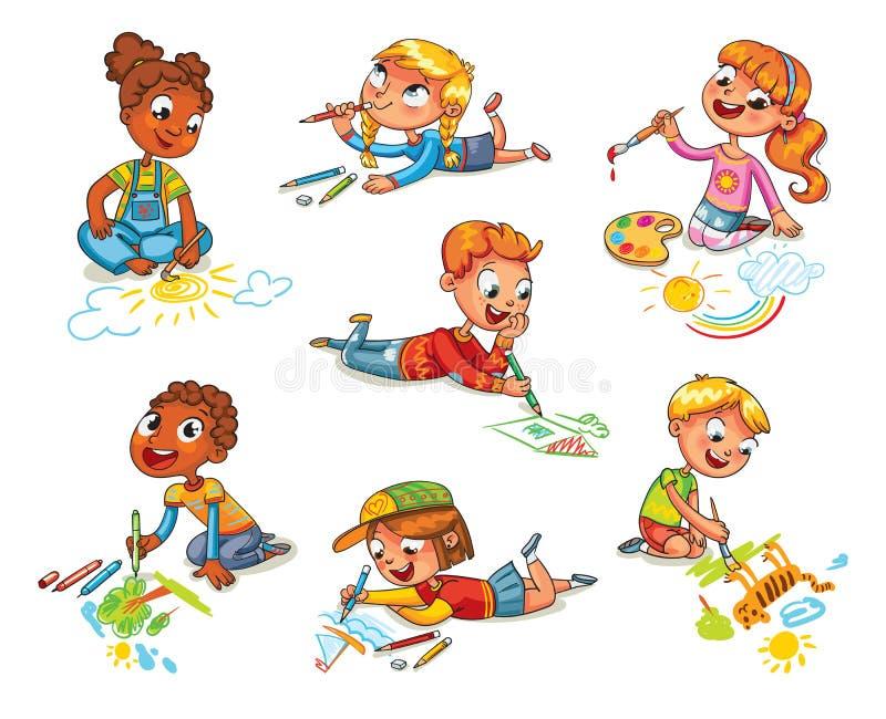 Kleine Kinderabgehobener betrag stellt Bleistifte und Farben dar lizenzfreie abbildung