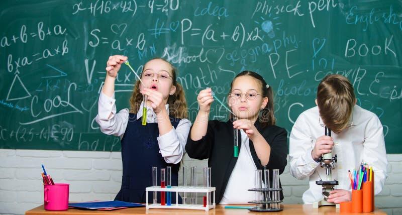 Kleine kinderen bij schoolles E De Dag van gelukkige Kinderen chemie Terug naar royalty-vrije stock fotografie