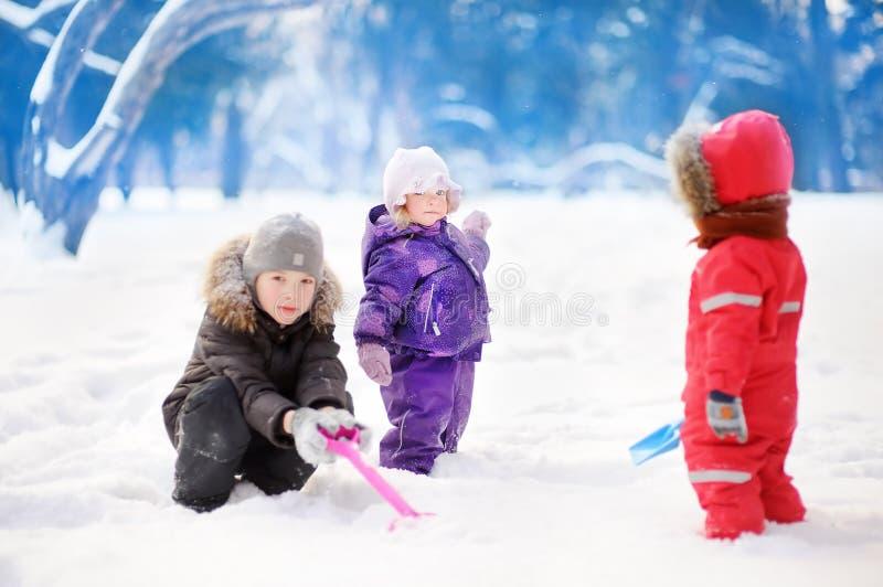 Kleine kinderen in de winterkleren die pret in park hebben bij de sneeuw de winterdag royalty-vrije stock foto