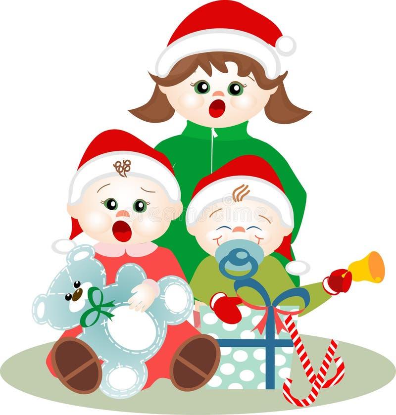 Kleine kinderen die de hymnes van Kerstmis zingen stock illustratie