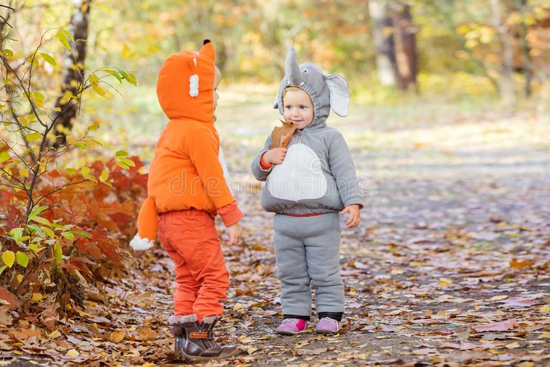 Kleine kinderen die in dierlijke kostuums in de herfstbos spelen stock afbeeldingen