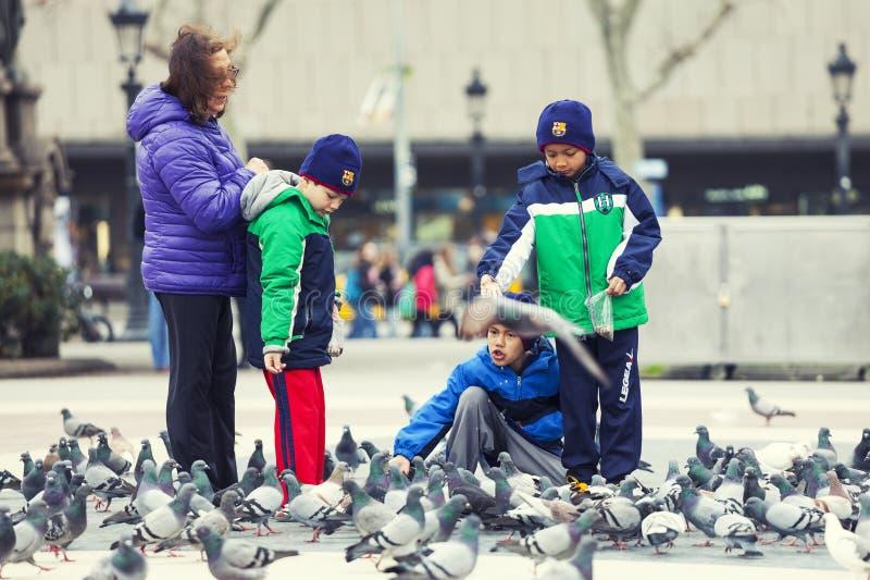 Kleine kinderen die met duiven spelen Jonge geitjes in Barcelona, Spanje stock afbeelding