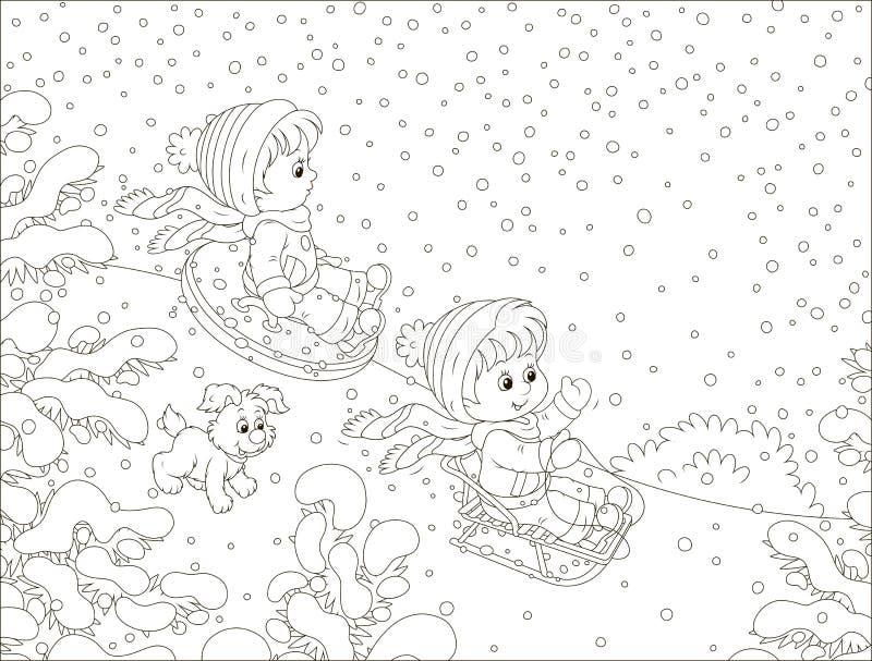 Kleine kinderen die onderaan een sneeuwheuvel sledding royalty-vrije illustratie