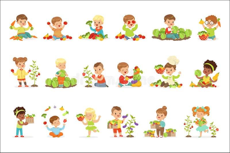 Kleine kinderen die pret hebben die en met groenten spelen, voor etiketontwerp worden geplaatst Het beeldverhaal detailleerde kle stock illustratie