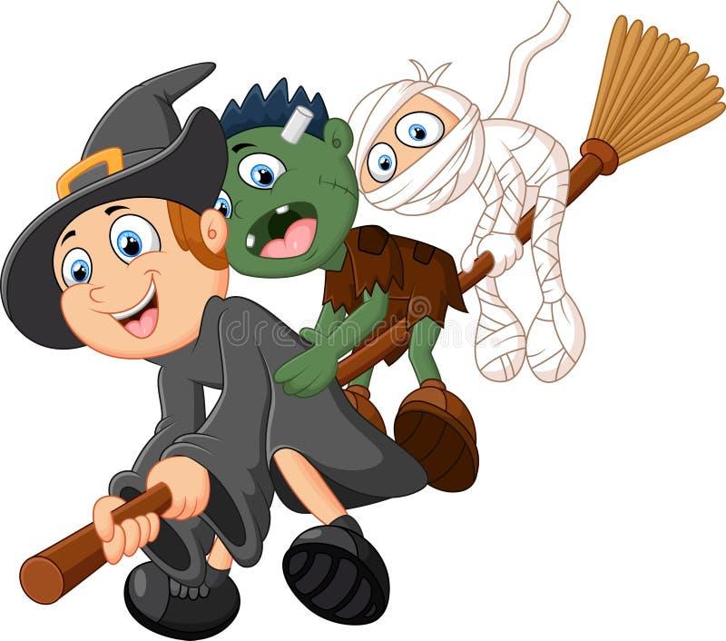 Kleine kinderen en spookvlieg met bezem vector illustratie