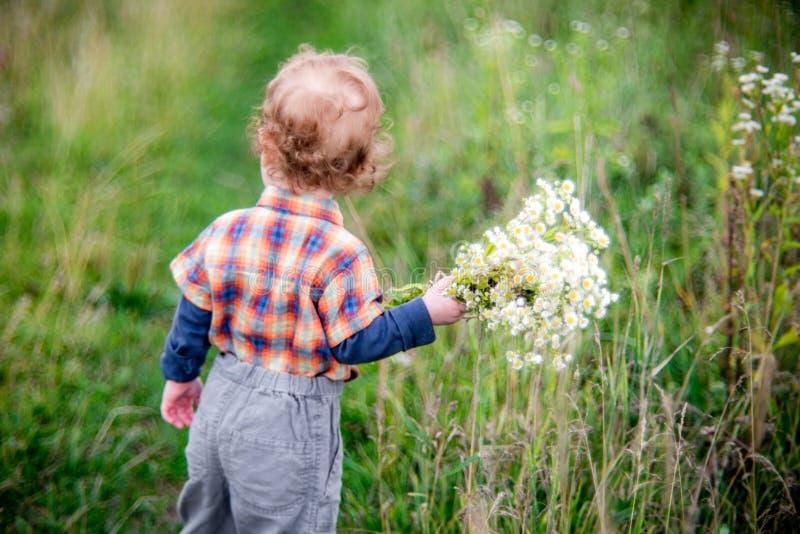 Kleine kindjongen met bloemen royalty-vrije stock afbeeldingen