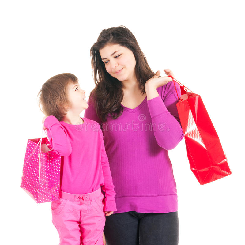 Kleine klanten in roze stock afbeelding