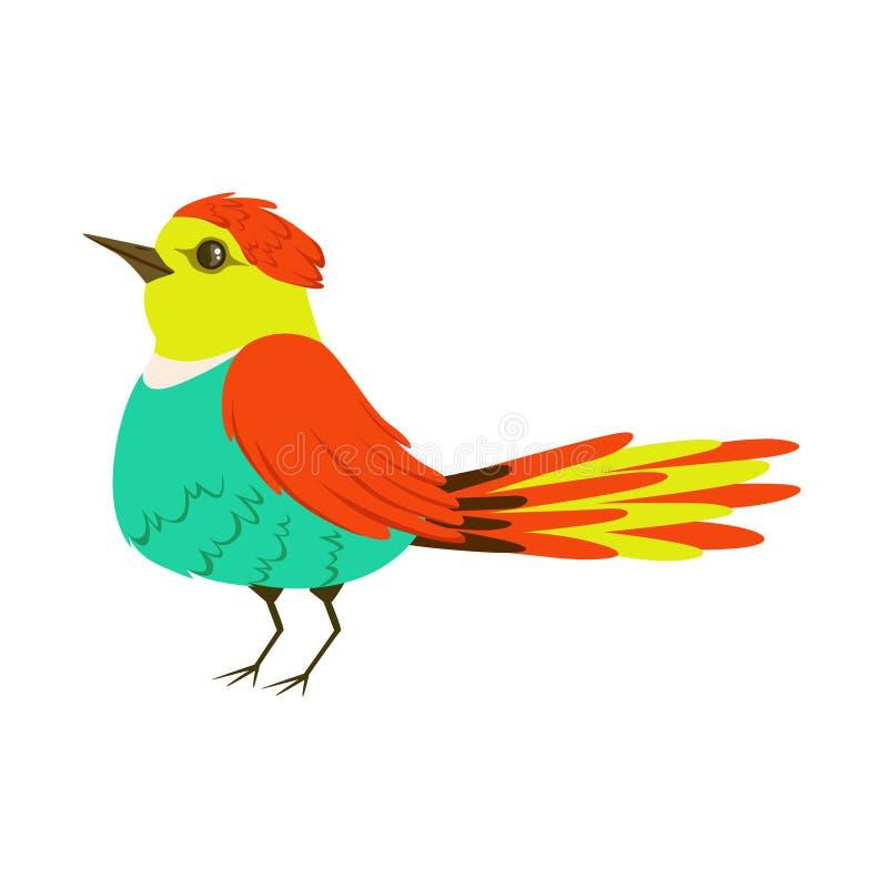 Kleine kleurrijke tropische vogel vectorillustratie royalty-vrije illustratie