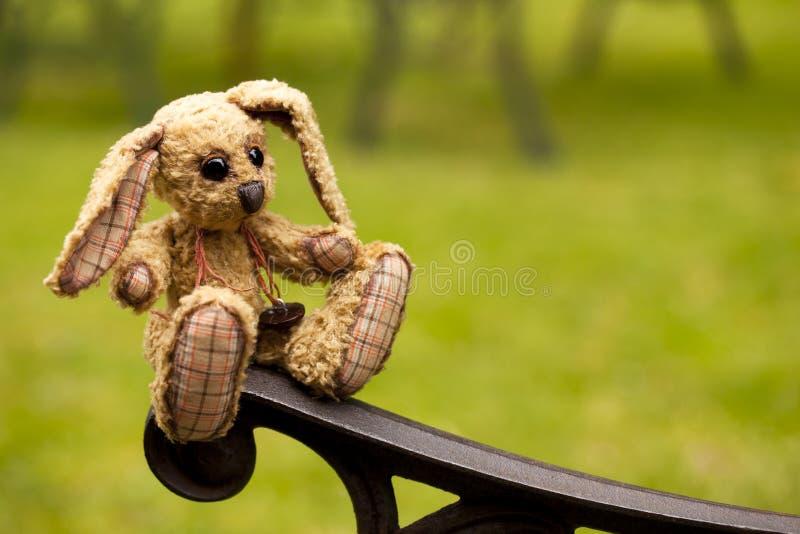 Kleine konijn zachte stuk speelgoed zitting in een ijzerbank stock foto