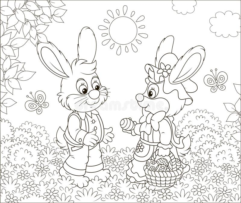 Kleine Konijntjes met een verfraaide Pasen-mand stock illustratie