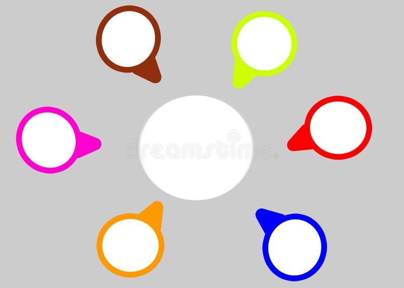 Kleine 6 Kreise und ein großer Kreishintergrund für Darstellungsschablone lizenzfreie abbildung