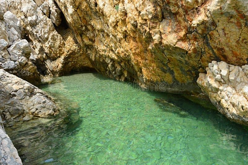 Kleine kroatische Uferbucht versteckt zwischen steilen Klippen mit klarem azurblauem Wasser lizenzfreies stockbild
