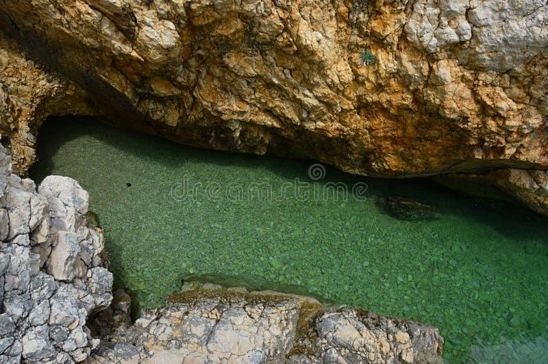Kleine kroatische Uferbucht versteckt zwischen steilen Klippen mit klarem azurblauem Wasser lizenzfreie stockfotografie