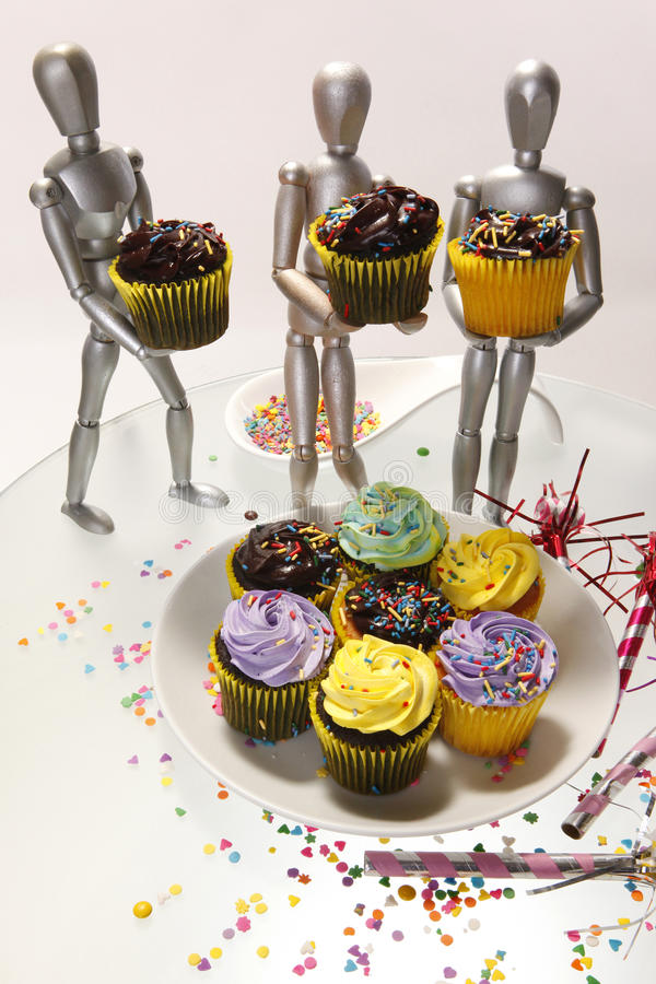 Kleine Kuchen 4 Attrappen stockfotos