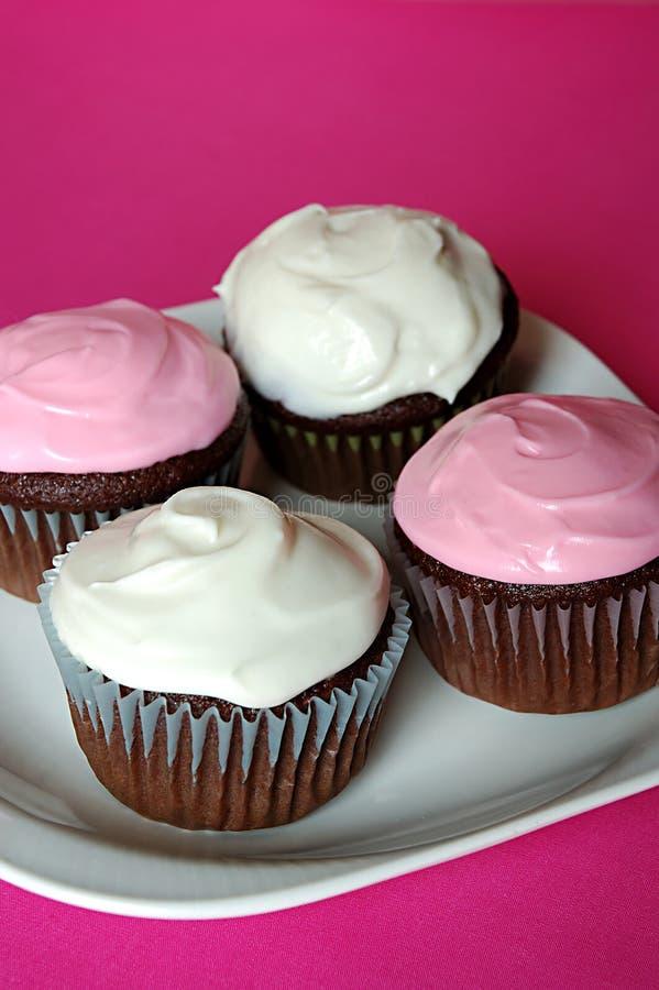 Kleine Kuchen auf einer Platte lizenzfreie stockbilder