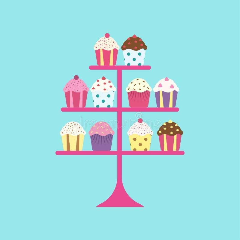 Kleine Kuchen auf Stand vektor abbildung