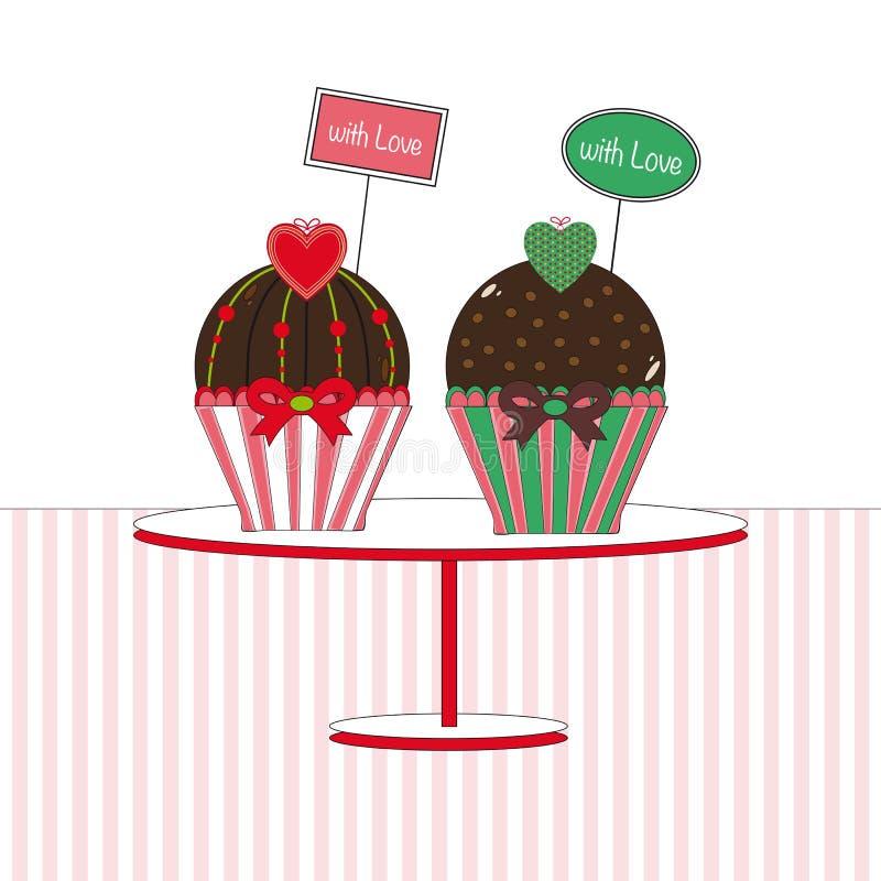 Kleine Kuchen mit Liebe stock abbildung