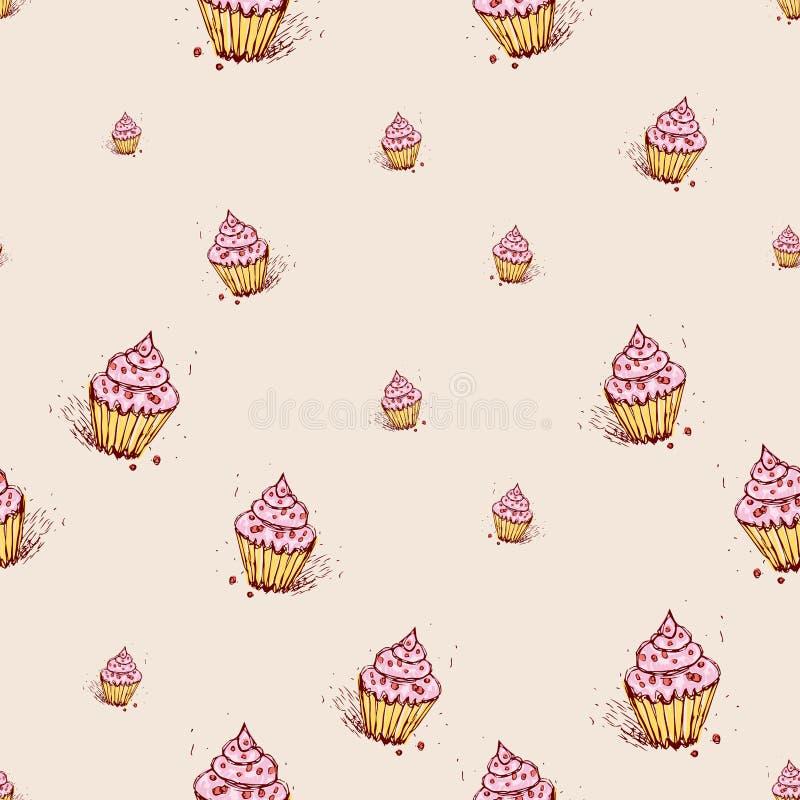 Kleine Kuchen mit rosa Sahnehand gezeichneter Skizze auf rosa Hintergrund Nahtloser Mustervektor lizenzfreie abbildung