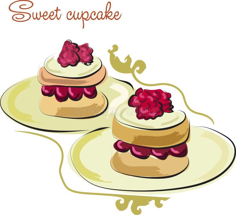 Kleine Kuchen mit Sahne und Himbeeren Plakat mit Illustration von selbst gemachten Bonbons lizenzfreie abbildung
