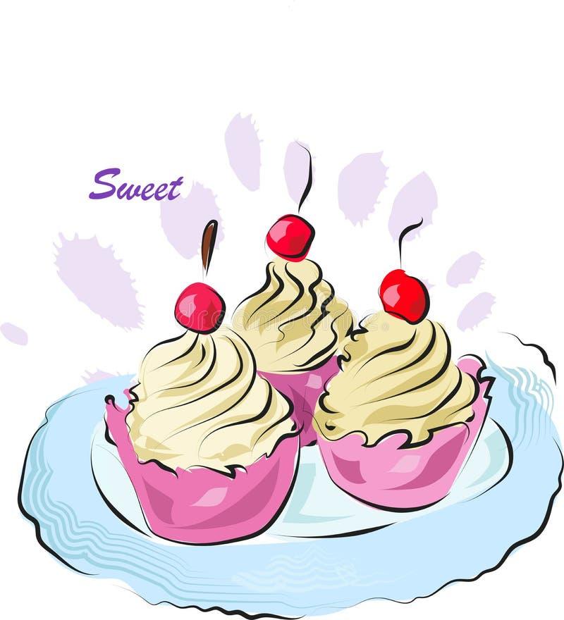 Kleine Kuchen mit Sahne und Kirschen Plakat mit Illustration von selbst gemachten Bonbons vektor abbildung