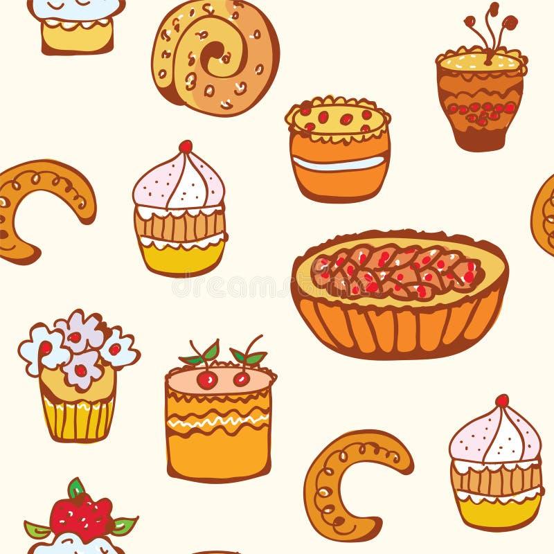Kleine Kuchen und nahtloses Muster des Schutzträgers lizenzfreie abbildung