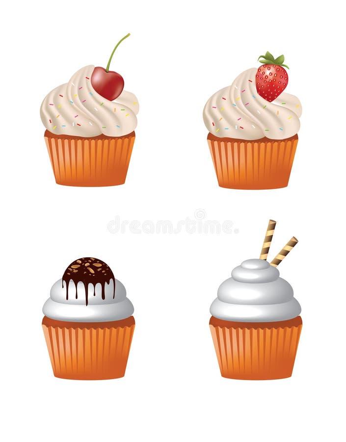 Kleine Kuchen vier Stücke gesetzt lizenzfreie abbildung