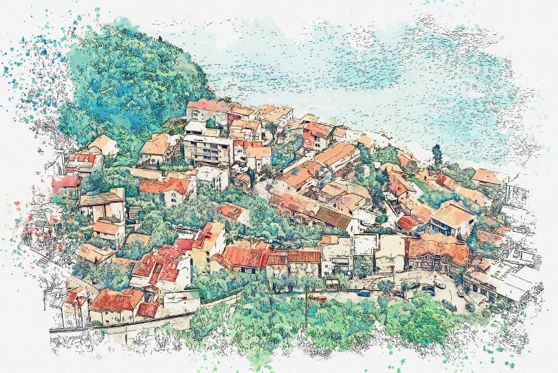 Kleine kuststad in Montenegro stock illustratie