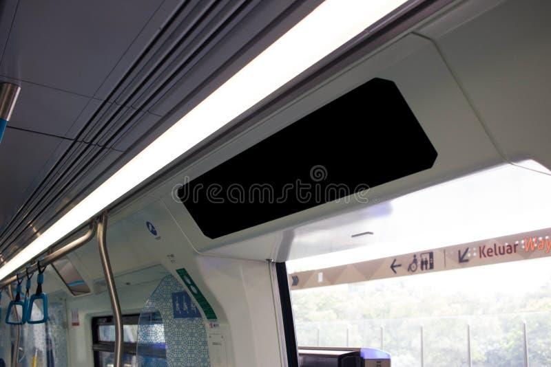 Kleine Lege Reclamevlek op treinbus royalty-vrije stock foto