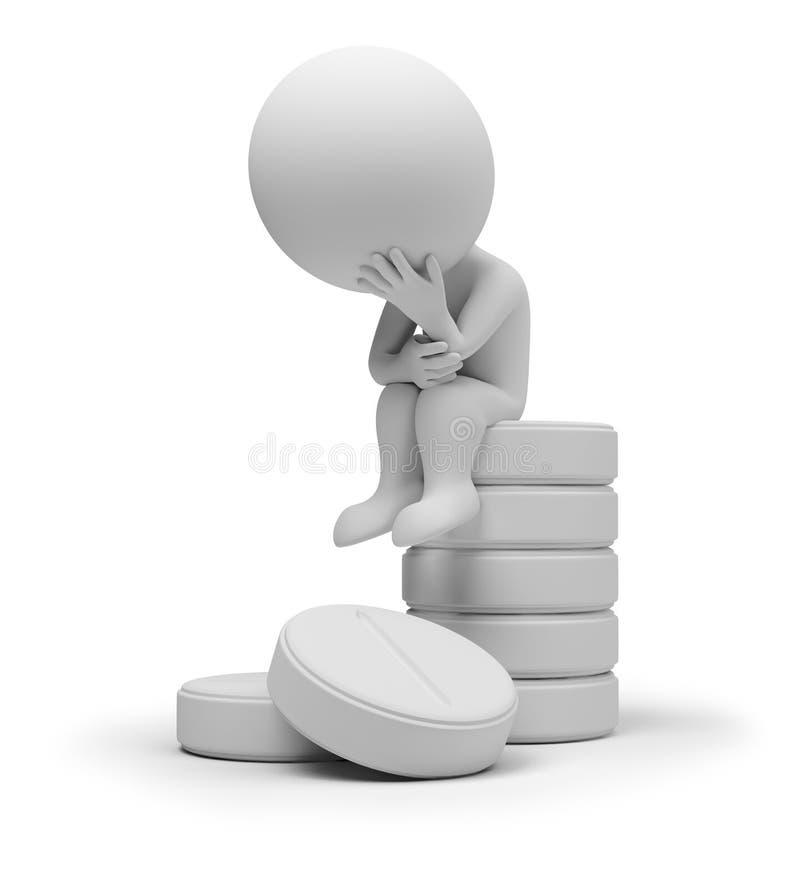 kleine Leute 3d auf Tabletten stock abbildung