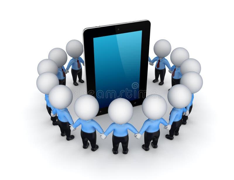 Kleine Leute 3d Um Tablette. Lizenzfreie Stockfotos