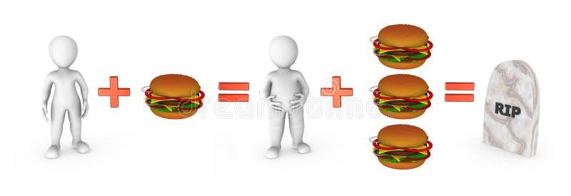 kleine Leute 3d mit Hamburgern und Schnellimbissproblem stock abbildung