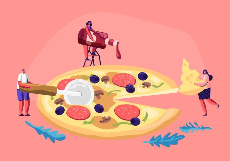 Kleine Leute, die enorme Pizza essen Mann und weibliche Figuren schneiden mit Messer, setzen Ketschup und Käse, nehmen Stück gesc lizenzfreie abbildung