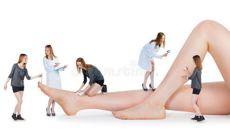 Kleine Leute, die weibliche Beine auf weißem Hintergrund überprüfen lizenzfreies stockfoto