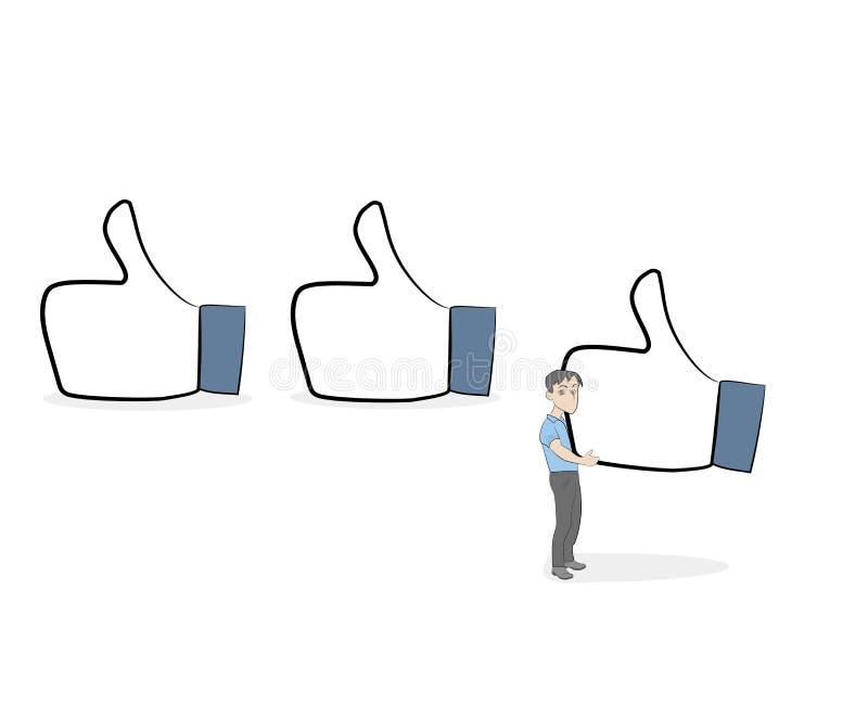 kleine Leute mit gleichen Zeichen Nette Miniatur des Gekritzels über Kommunikation Hand gezeichnete Karikaturvektorillustration f vektor abbildung