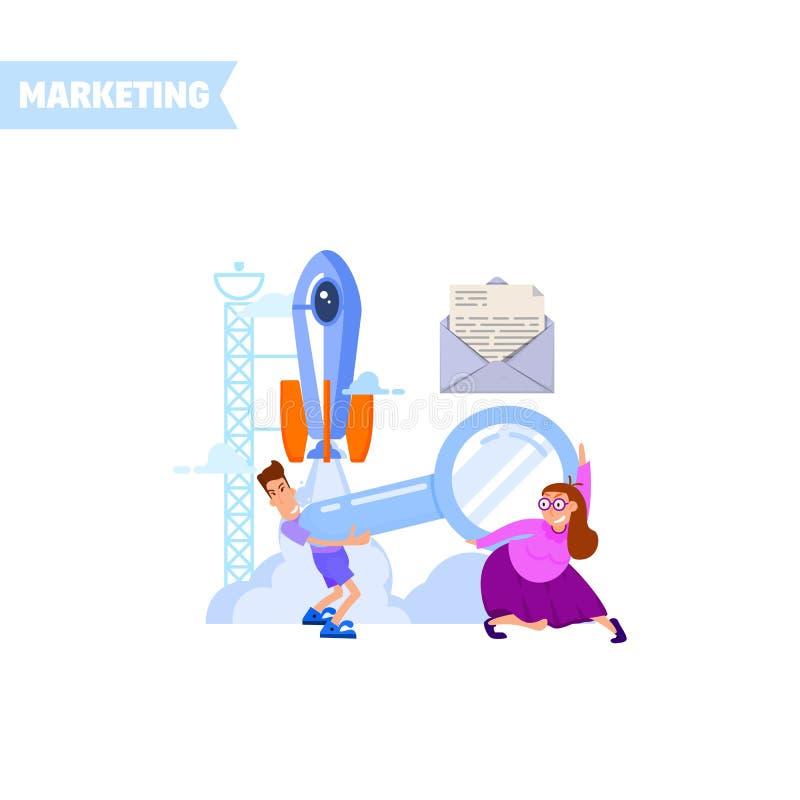 Kleine Leute tragen eine Lupe, unter einem Raketenstart Flaches Design lizenzfreie abbildung