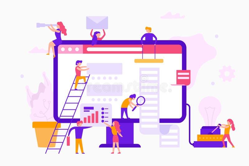 Kleine Leute um einen Monitor machen eine Website infographic Abstrakte blaue und weiße Würfel auf einem weißen Hintergrund Gesch vektor abbildung