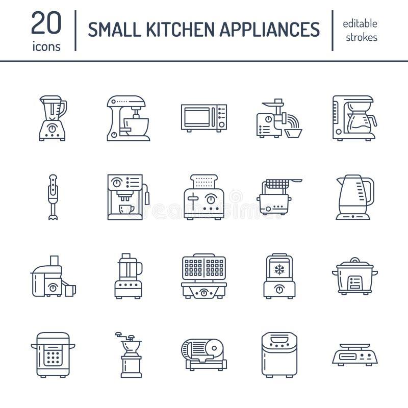 Kleine Linie Ikonen der Küche Geräte Haushalt, der Werkzeugzeichen kocht Lebensmittelzubereitungsausrüstung - Mischmaschine, Kaff stock abbildung