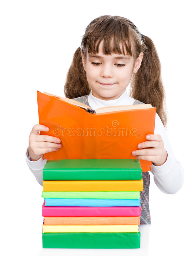 Kleine Mädchenlesebücher Getrennt auf weißem Hintergrund stockfotos